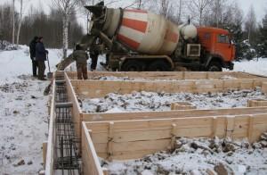 Заливка фундамента бетоном зимой