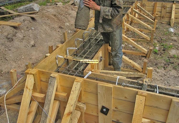 Заливка бетона ленточного фундамента