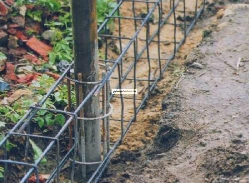 Армирование фундамента под забор