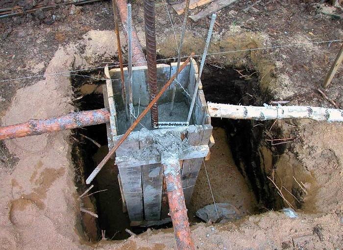 заливка столбов бетоном