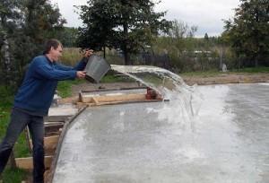 Пролив бетона во время высыхания