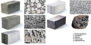 Таблица легких бетонов