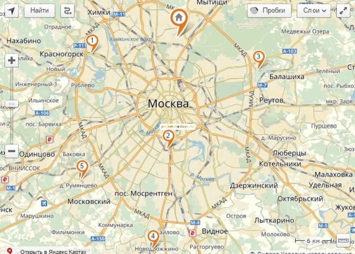 Карта бетонных заводов Москвы